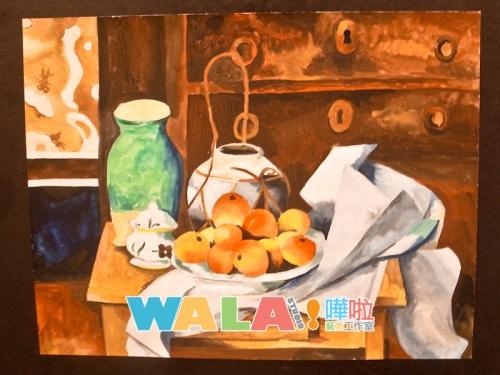 中學生視藝功課,藝術家參考及測驗畫工作練習。這是水彩靜品寫生 。Cézanne, Paul 的風格.